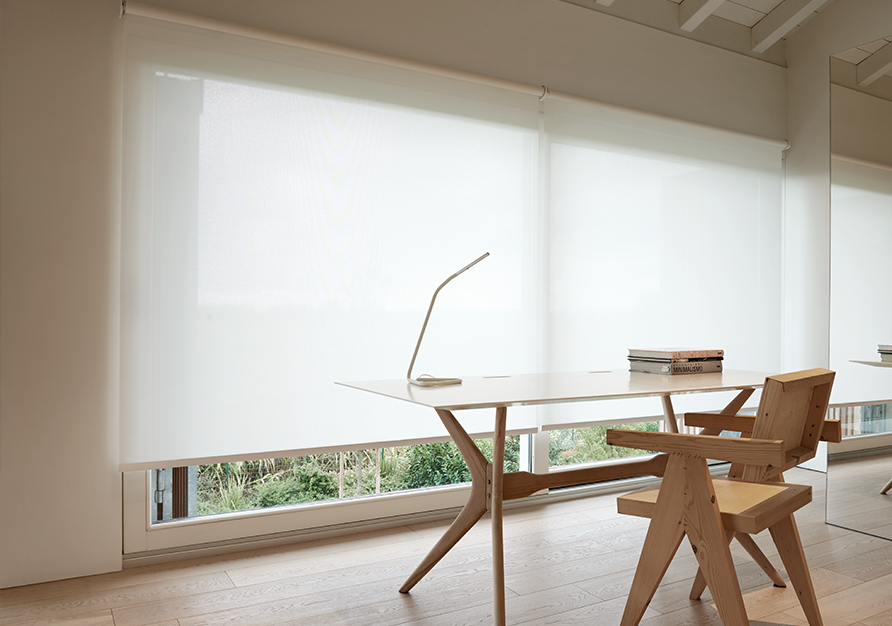 Roller blinds in screen are an optimal choice for an office.