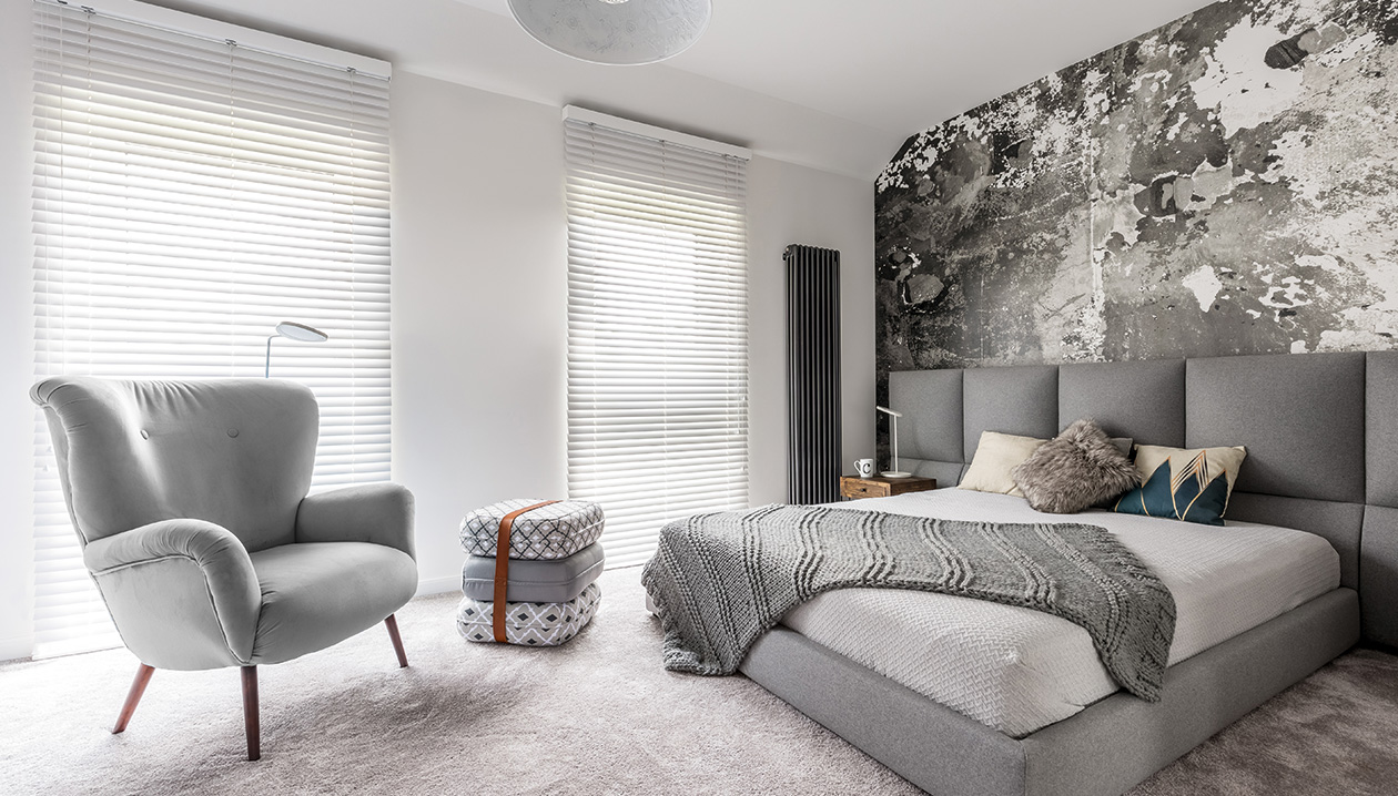 Horizontal blinds can also dim-out a room.