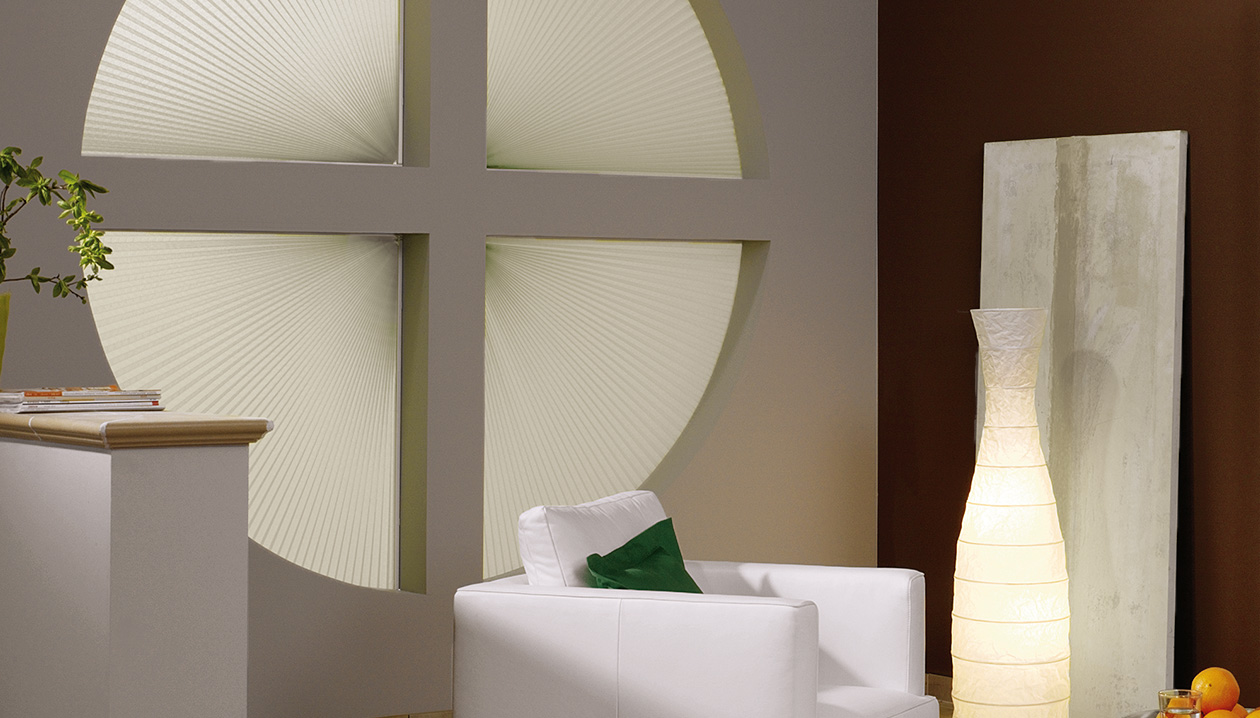 pleated blinds are ideal for circular windows