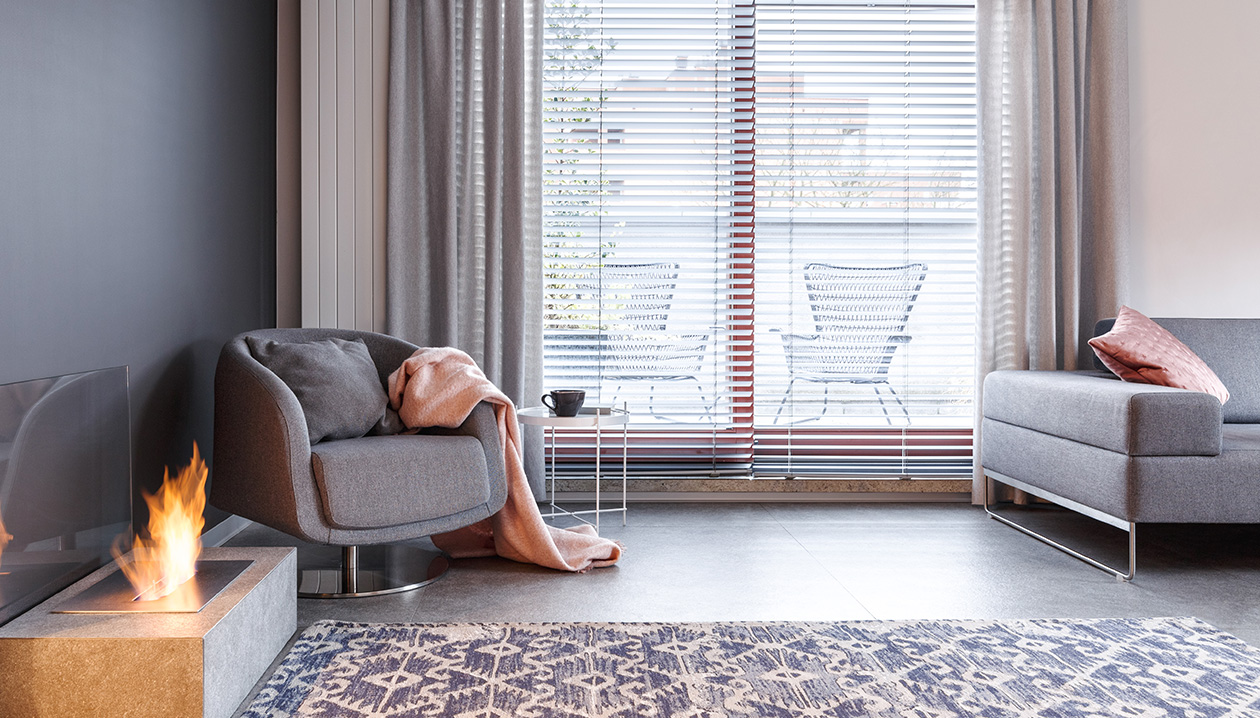decorative panels in combination with horizontal blinds